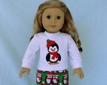 Red and Green Penguin Pajamas and Optional Slippers for American Girl/18 Inch Doll