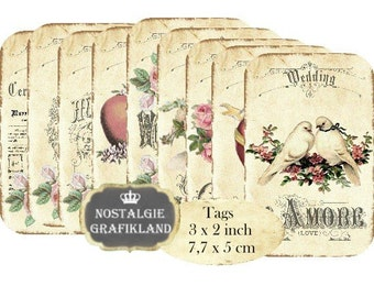 Wedding Tags Vintage Marriage Tags Instant Download digital collage sheet T171