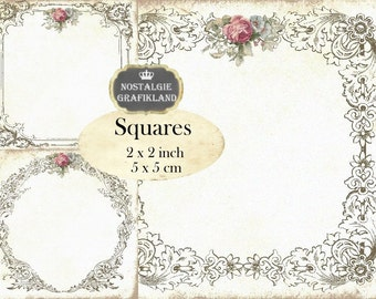 Vintage Frames & Wreath Ornament 2x2 inch squares Instant Download digital collage sheet TW154