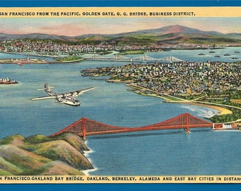 Linen Postcard - A Plane Flying Over The San Francisco's Golden Gate Bridge in San Francisco, California  (1910)