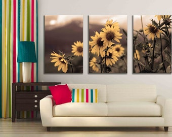 Three panel multiple piece canvas sepia daisy photograph accent nature home decor kitchen wall hanging print art Colorado mountains flowers