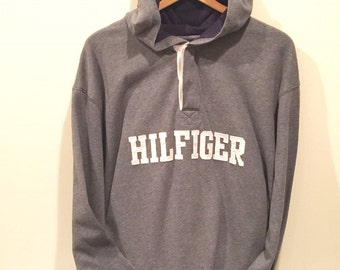 Tommy Hilfiger Hoodie Shirt Gray Spellout HILFIGER Size XXLarge  Looks Awesome