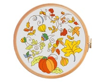 Autumn still life - cross stitch pattern - fall pumpkin garlic oak Rowan maple fetus leaves yellow red green