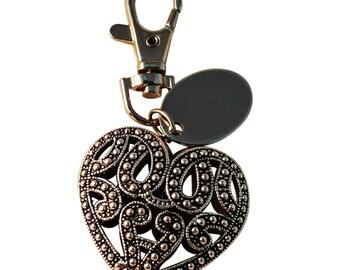 Silver heart pattern keyring, custom engraved personalised in velvet gift pouch