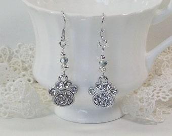 Crystal Dog Paw Dangle Earrings Sterling Silver