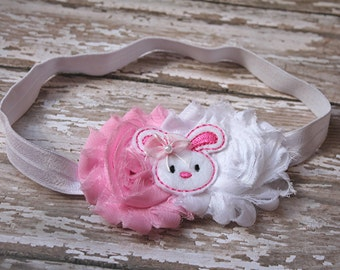 Easter bunny headband - easter hair clip - pink easter headband -  baby headband - hair bow - spring headband - pink bunny headband