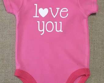 Baby, Onesie, Love You, Onesie, Pink, Vinyl