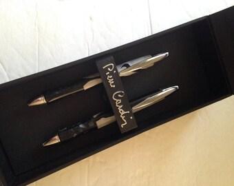 Pierre Cardin Twist Top Ball Point Pen Set. Agate/Chrome/ Black Ink