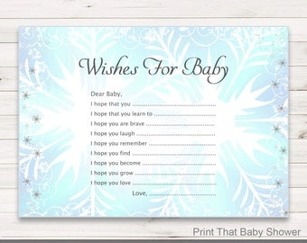 Baby Shower Games - Wishes For Baby Game - Frozen Shower Game - Wishes For Baby Printable - Wishes For Baby Card - Frozen