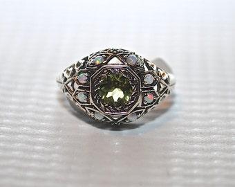 Sterling Silver Peridot Opal Ring Sz 6 #4958