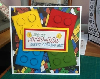 Lego Birthday card, lego bricks birthday card, lego card, son birthday, boys birthday, dad birthday, fathers day card