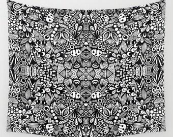Zentangle - B&W Wall Tapestry