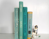 Beach Cottage Blue Book Stack - Sea Glass, Shabby Chic Book Decor