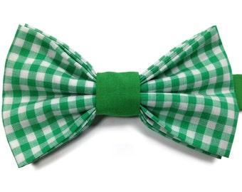 Gingham Bow Tie, Kids Green Bow Tie, Boys Bow Tie, Childrens Bow Tie, Page Boy Bow Tie, Toddler Bow Tie, Birthday Bow Tie, Wedding Bow Tie