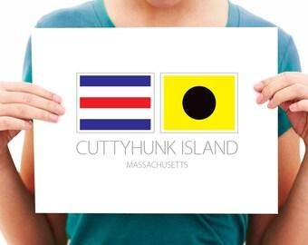 Cuttyhunk Island, Massachusetts - Nautical Flag Art Print
