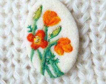 Poppy Brooch, Orange Poppy Brooch, California Poppy, Needle Felt Brooch, Poppy pin, Mothers Day gift, felt art IWANTCRAFT