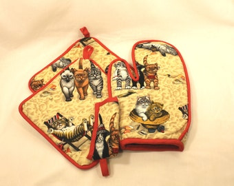 """Cat Pot Holder/Oven Mitt Set - """"Lazy Beach Cats/Kittens"""" Red Trim - Very Thick - Cute Kitchen Item- Great Gift for Cat Lovers! Gift under 35"""