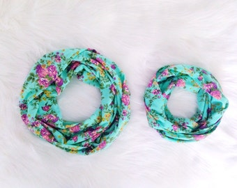 Mommy and Me Matching Infinity Scarves Scarf Set - Purple Floral on Aqua Green - READY TO SHIP