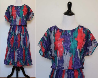 Vintage 1980s Anthony Richards Abstract Pleated Dress