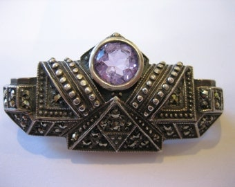 Antique Art Deco Sterling Marcasite Amethyst Brooch Pin 10 Grams