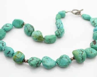 """Beautiful  Turquoise Nugget and Silver Statement Necklace 16"""". [6478]"""