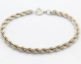 """Vintage 5mm Rope Bracelet in Sterling Silver 7.5"""". [8955]"""