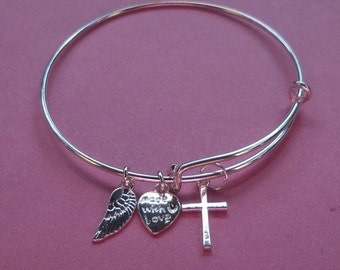 Silver Cross Adjustable Wire Bracelet and Angel Wing & Heart Metal Charms