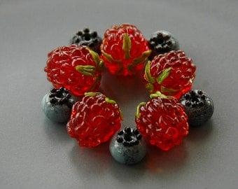 Garden raspberries / handmade lampwork beads / Berries/ Beading / Garden