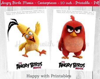 Angry Birds Centerpieces LARGE - Angry Birds Movie Centerpieces - Red - Angry Birds party - 10 inch Centerpieces - Printable centerpieces
