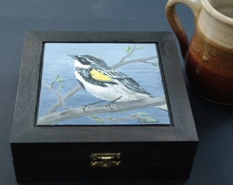 Tea box - hand painted, Yellow-rumped Warbler, bird