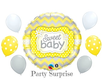 Baby Balloons Yellow Gray White Chevron Mylar Foil and Latex Balloon Package Boy Baby Girl Baby Shower