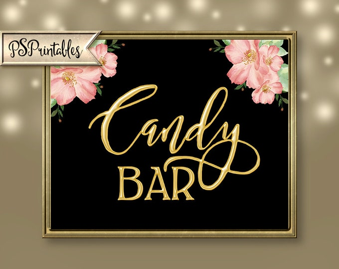 Printable Gold & Black Candy Bar Sign for wedding, shower or special event  DIY Download - You GET 4 sizes - 14K Gold Collection