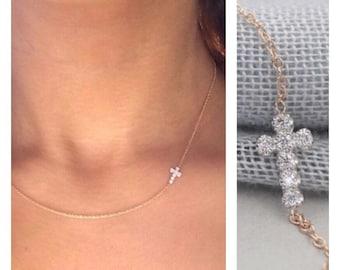 Solid 14k gold diamond cross necklace sideways cross diamond necklace