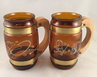 Vintage Siesta Ware Amber Mugs with Wood Handles Cowboy Design