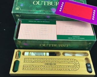 Vintage Outburst Board Game 1986 With Wood Tracker