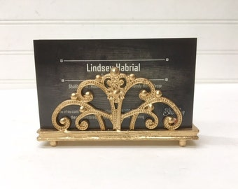 Business Card Holder/Gold Business Card Holder/Shabby Chic/Office Decor/Desk Decor/Gift Idea/Office Gift/Floral Business Card Holder