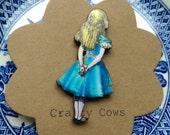 Alice in wonderland brooch Alice meets Cheshire cat kitsch Alice badge Alice jewellery