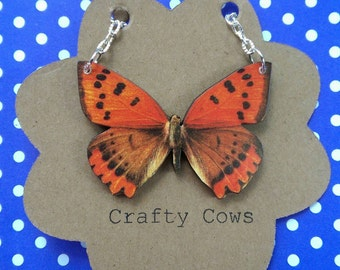 Butterfly necklace orange and black butterfly pendant necklace - wooden butterfly necklace nature festival butterfly jewellery