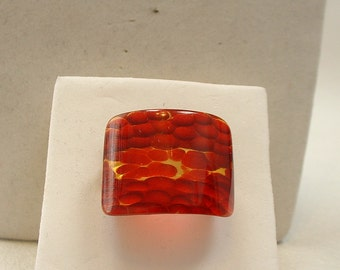Reverse Carved and Painted Apple Juice BAKELITE Ring one of a kind (E42)
