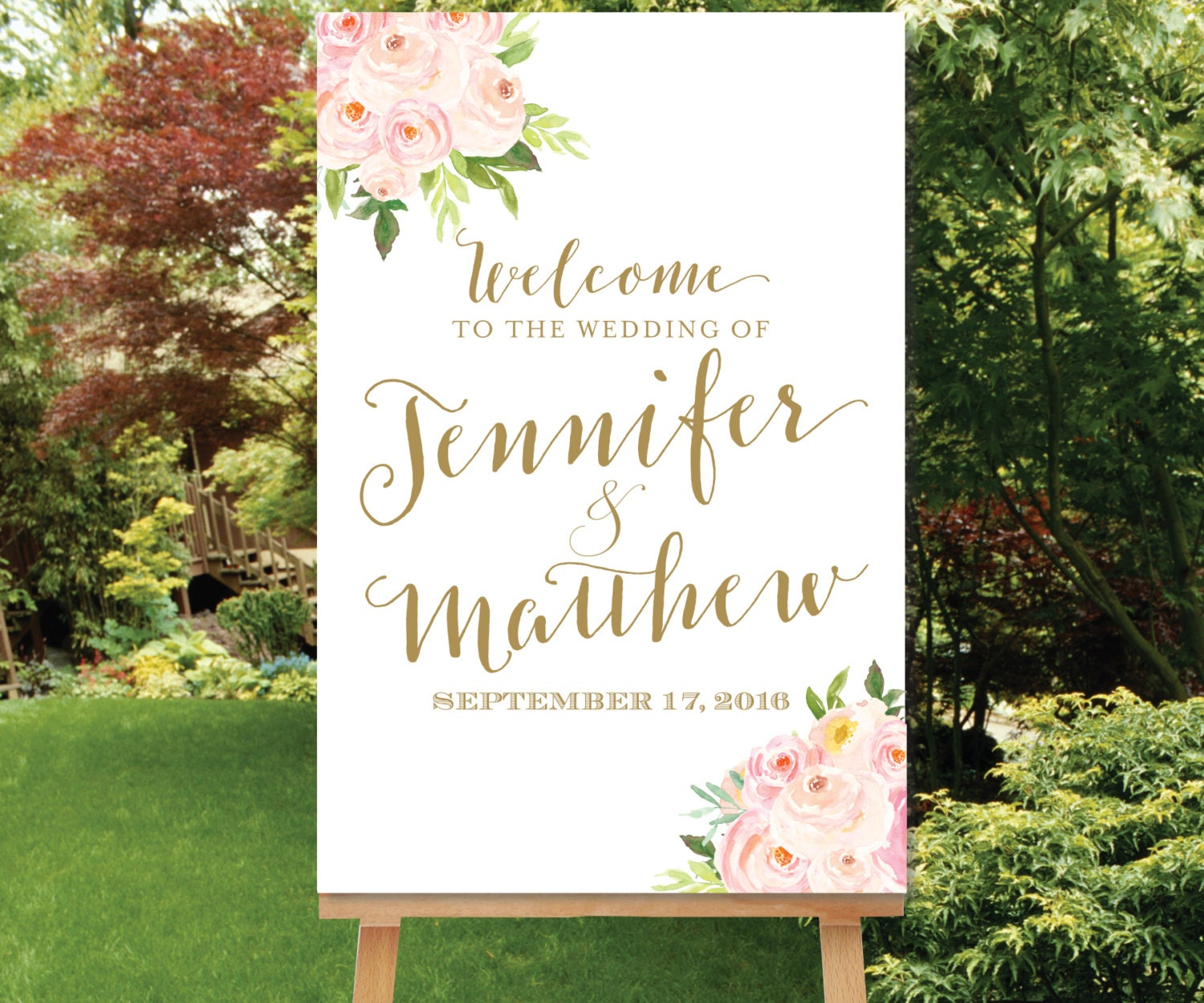 PRINTABLE Wedding Welcome Sign Blush Gold By