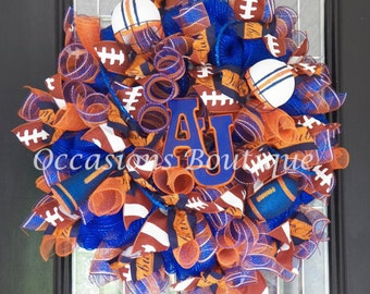 Auburn Tigers Football Wreath, Auburn Wreath, Football Wreath, Door Hanger, Front Door Hanger, Football Party