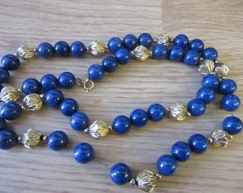"""Natural Blue Lapis and 14K yellow gold bead necklace 25"""""""