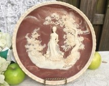 """She Walks in Beauty"""" Byron Wall Plaque, Relief Cameo decorative Collector's Plate, Poetry, Poet, Lady Silhouette, signed numbered, wall art"""