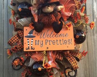 Halloween Wreath, Halloween Decor, Halloween Swag, Witch Wreath, Witch Decor, Halloween Mesh Wreath, Fancy Halloween