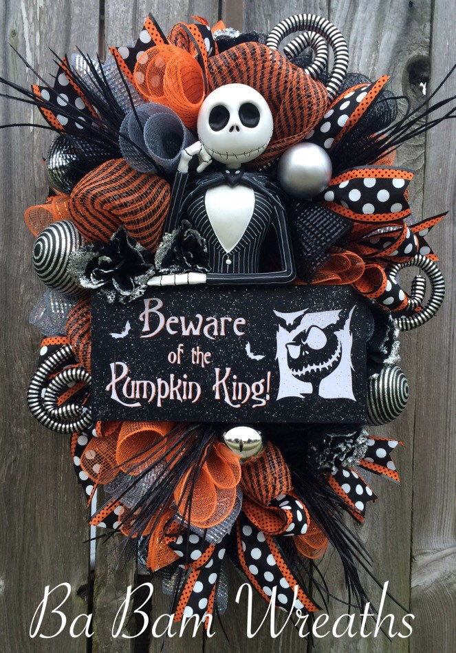 Original jack wreath halloween wreath halloween mesh wreath - Jack skellington decorations halloween ...