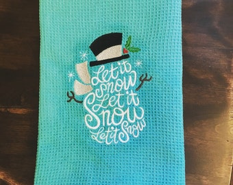Embroidered Winter Kitchen Towel // Snowman Hand Towel