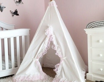 Girls Teepee White Lace - lace teepee, kids teepee tent, girls nursery decor, white teepee, tipi, tee-pee, kids room, girl play tent