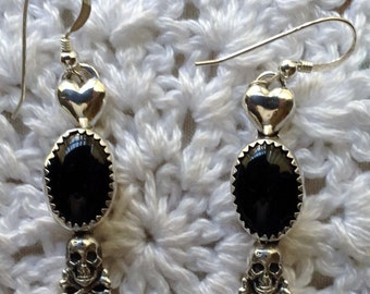 Black Onyx with Skull and Heart Earrings