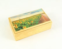 Sunflower Decor, Floral Gift Box, Personalized Gifts for Bride, Shabby Chic Box, Small Wooden Box with Lid, Jewelry Box, Watch Box
