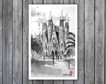 Art Print, Ink & Watercolor | La Sagrada Familia, Nativity Facade, Barcelona, Spain